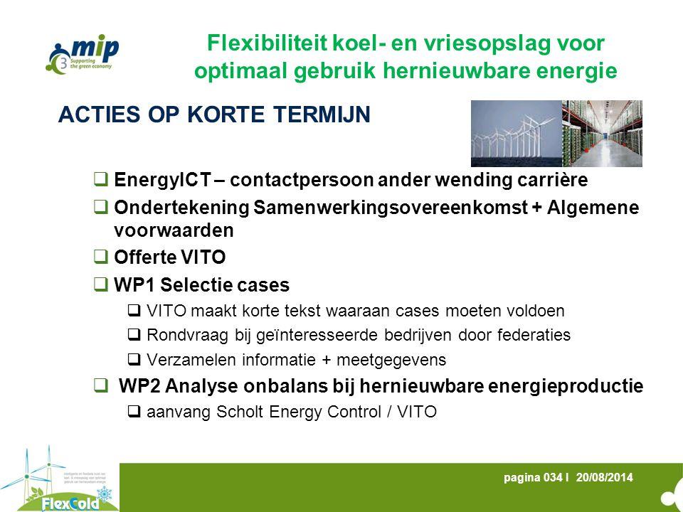 20/08/2014pagina 034 I ACTIES OP KORTE TERMIJN  EnergyICT – contactpersoon ander wending carrière  Ondertekening Samenwerkingsovereenkomst + Algemen