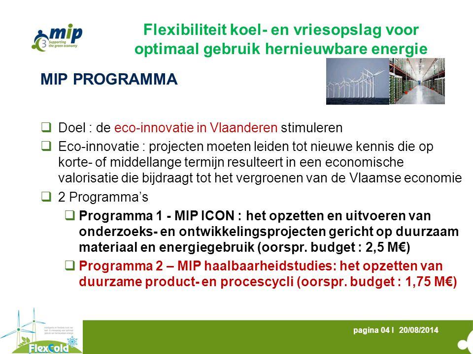 20/08/2014pagina 05 I MIP PROGRAMMA  Algemene kenmerken  Gekaderd binnen de MIP thema's  Bijdrage aan de transitie naar een groene economie  Coöperatief en interdisciplinair consortium  Evenwichtige samenstelling van het consortium  Economische en maatschappelijke meerwaarde  MIP thema's  Thema A : Duurzame producten en processen  Thema B : Duurzame energie en energie-efficiëntie  Efficiënt inzetten van energie  Nuttig aanwenden van energieverliezen  Energie-efficiënte producten en diensten  Energiezuinige Gebouwen Flexibiliteit koel- en vriesopslag voor optimaal gebruik hernieuwbare energie