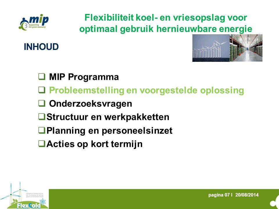 20/08/2014pagina 08 I PROBLEEMSTELLING  EU 20-20-20 doelstellingen: 13% hernieuwbare energie tegen 2020 in België  Aandeel elektriciteitsproductie uit hernieuwbare bronnen zal toenemen  Wind- en zonne-energie  Lagere voorspelbaarheid  Moeilijk controleerbaar  Problemen bij evenwichtsverantwoordelijken : hoger onbalansrisico bij hernieuwbare energie  Congestieproblemen op de netten Flexibiliteit koel- en vriesopslag voor optimaal gebruik hernieuwbare energie