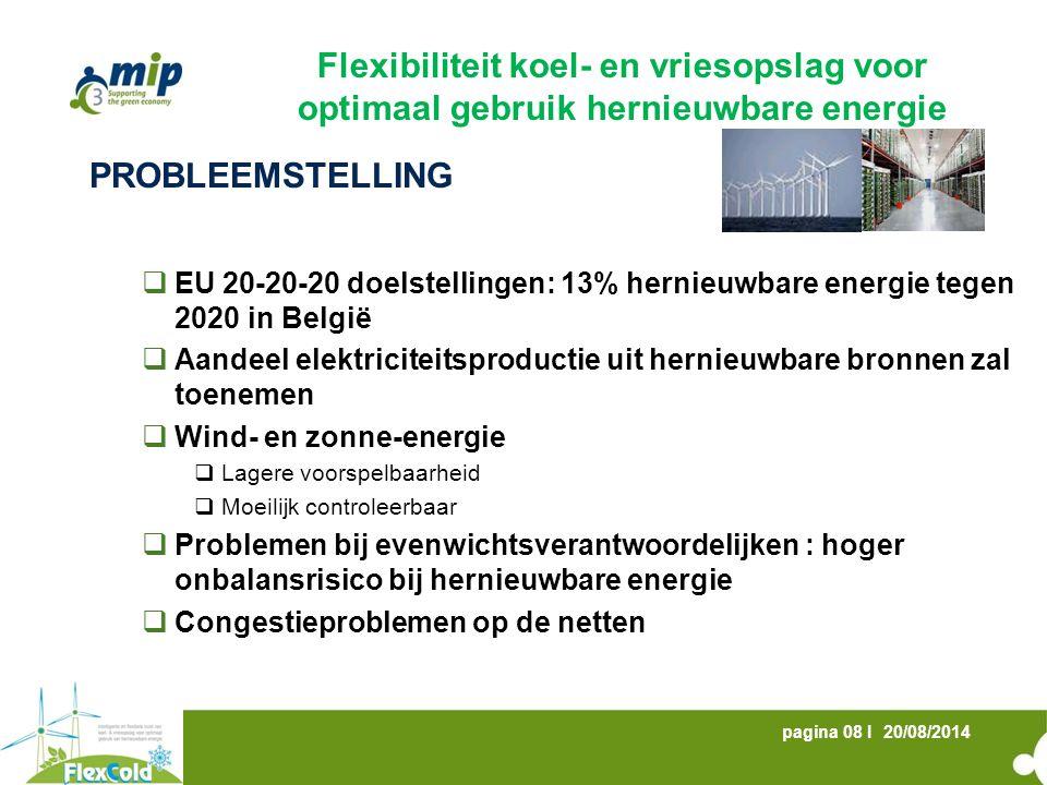 20/08/2014pagina 08 I PROBLEEMSTELLING  EU 20-20-20 doelstellingen: 13% hernieuwbare energie tegen 2020 in België  Aandeel elektriciteitsproductie u
