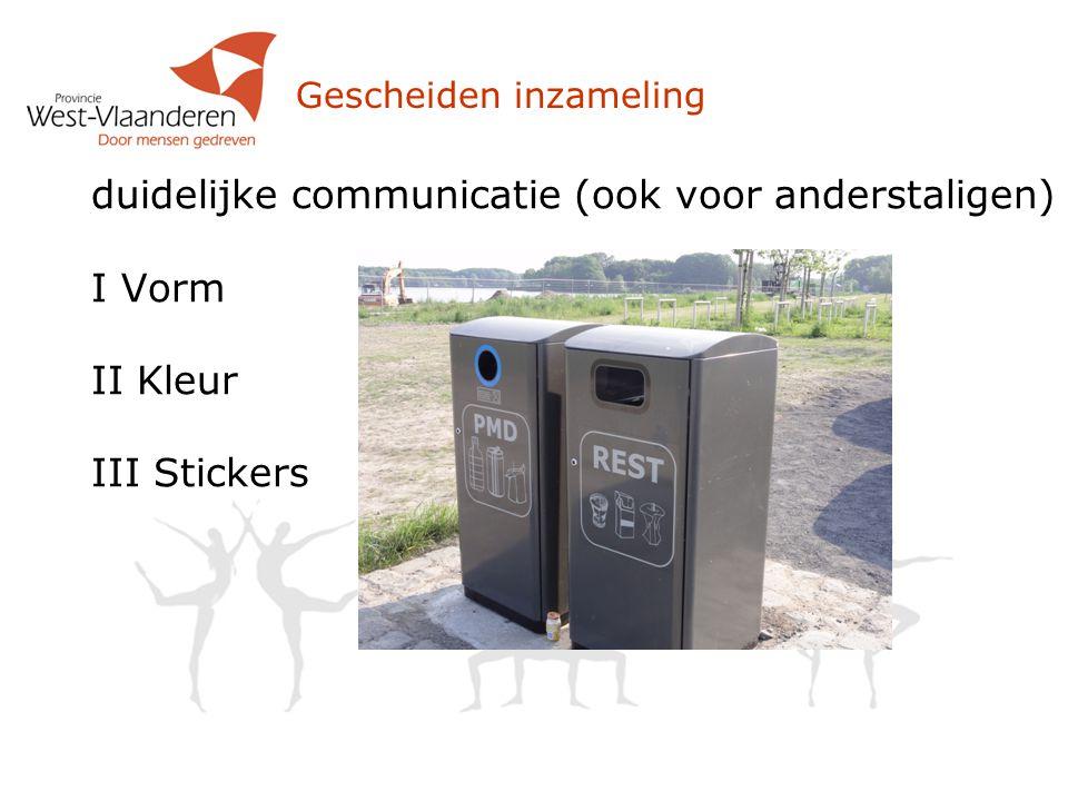 Gescheiden inzameling duidelijke communicatie (ook voor anderstaligen) I Vorm II Kleur III Stickers