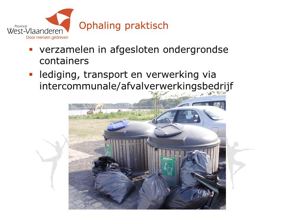 Ophaling praktisch  verzamelen in afgesloten ondergrondse containers  lediging, transport en verwerking via intercommunale/afvalverwerkingsbedrijf