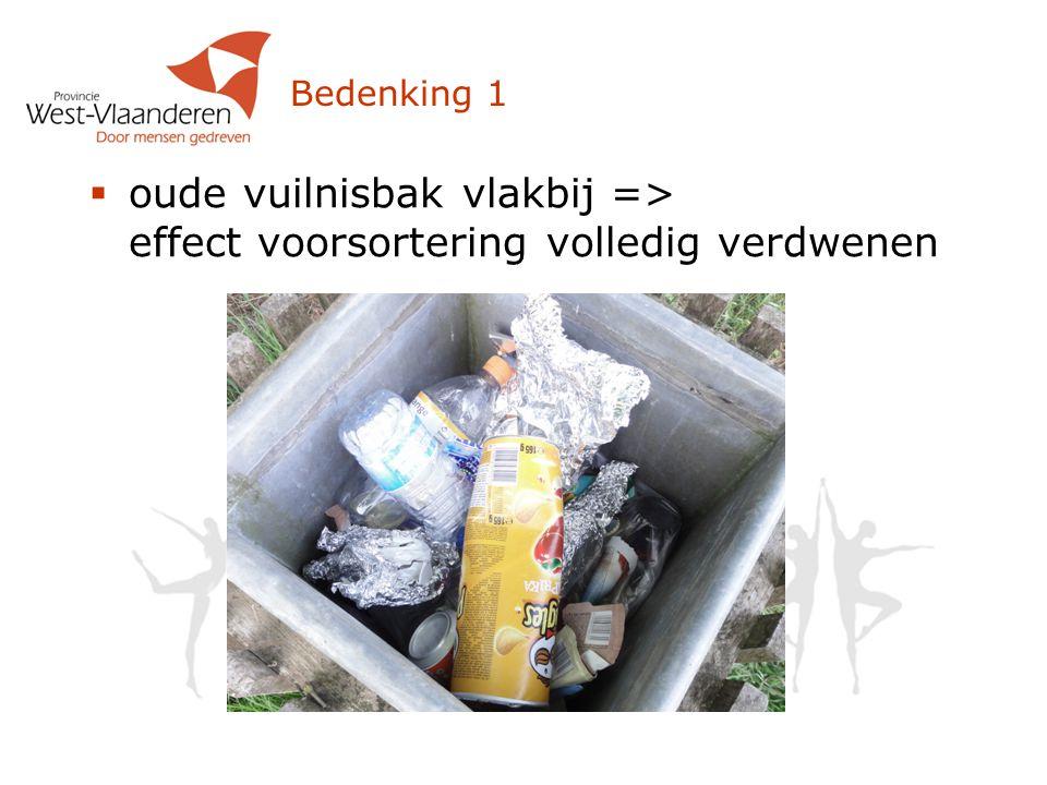 Bedenking 1  oude vuilnisbak vlakbij => effect voorsortering volledig verdwenen
