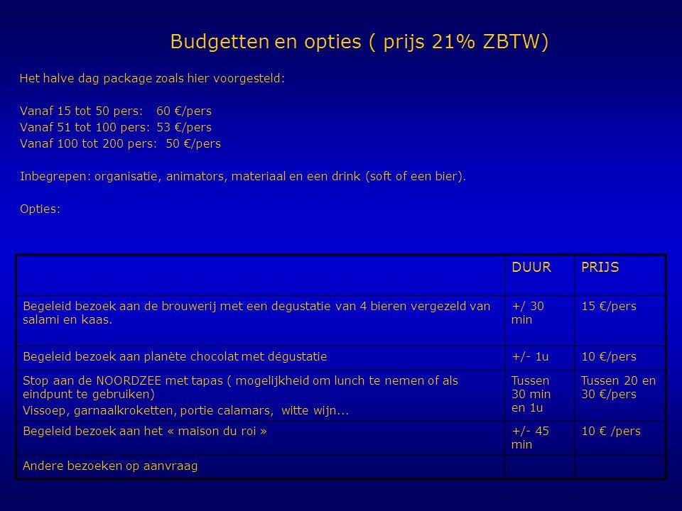 Budgetten en opties ( prijs 21% ZBTW) Het halve dag package zoals hier voorgesteld: Vanaf 15 tot 50 pers:60 €/pers Vanaf 51 tot 100 pers:53 €/pers Van