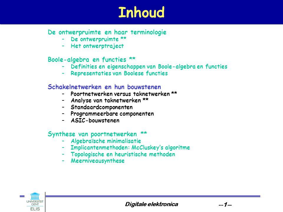 Digitale elektronica --1-- Inhoud De ontwerpruimte en haar terminologie –De ontwerpruimte ** –Het ontwerptraject Boole-algebra en functies ** –Definit