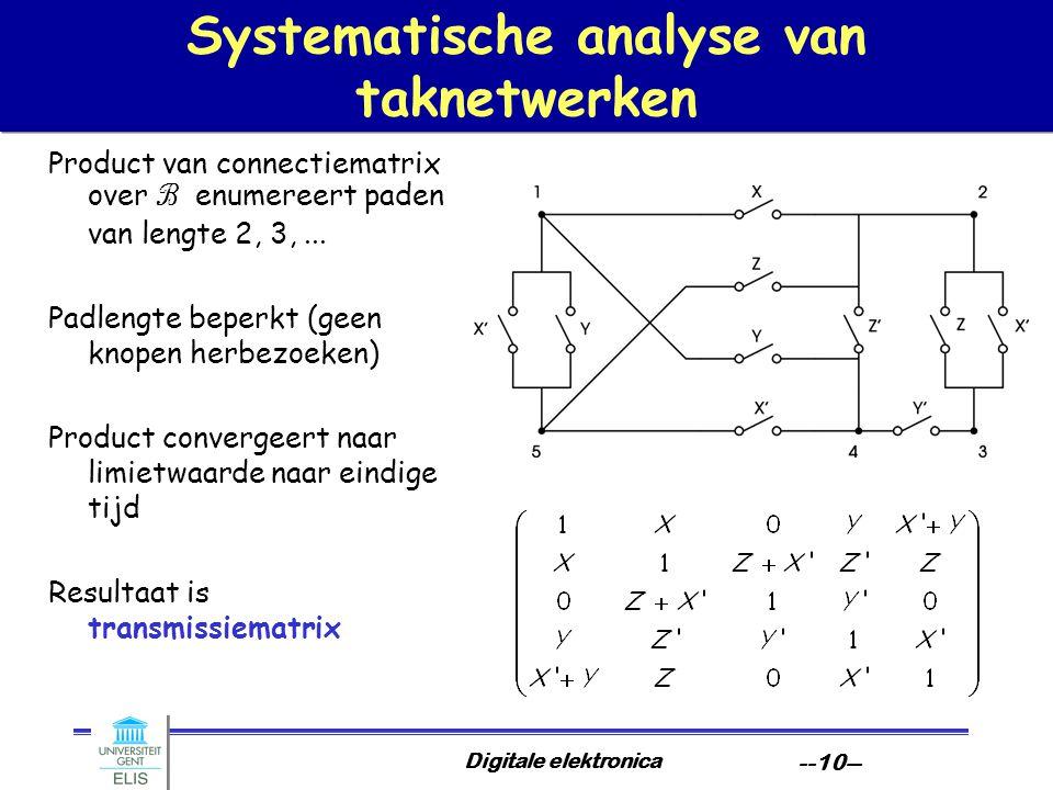 Digitale elektronica --10-- Systematische analyse van taknetwerken Product van connectiematrix over B enumereert paden van lengte 2, 3,... Padlengte b