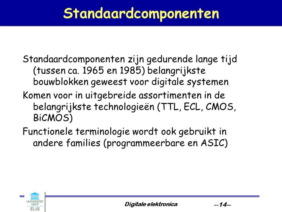 Digitale elektronica --14-- Standaardcomponenten Standaardcomponenten zijn gedurende lange tijd (tussen ca. 1965 en 1985) belangrijkste bouwblokken ge