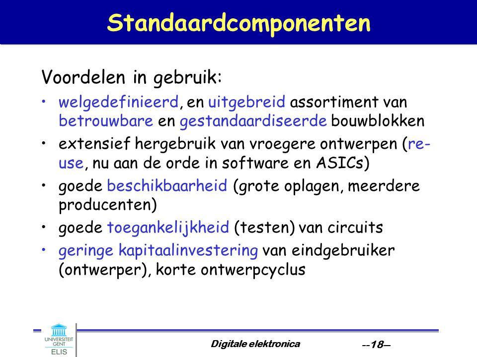 Digitale elektronica --18-- Standaardcomponenten Voordelen in gebruik: welgedefinieerd, en uitgebreid assortiment van betrouwbare en gestandaardiseerd