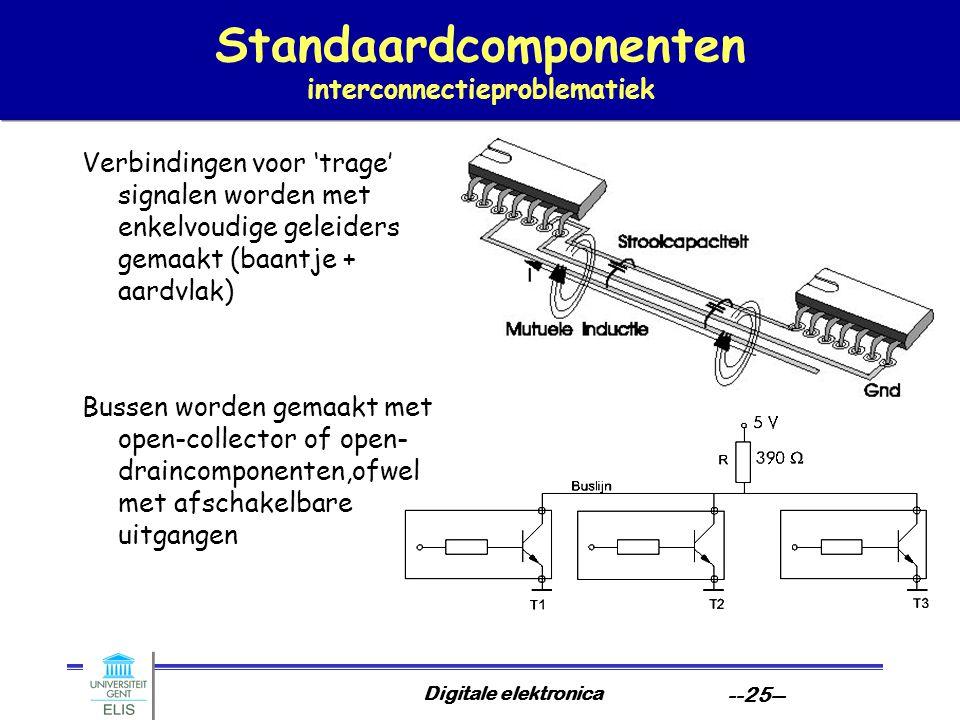 Digitale elektronica --25-- Standaardcomponenten interconnectieproblematiek Verbindingen voor 'trage' signalen worden met enkelvoudige geleiders gemaa