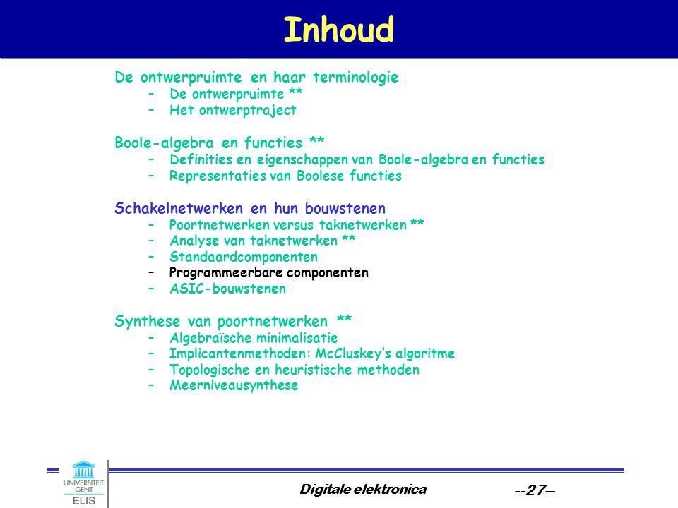 Digitale elektronica --27-- Inhoud De ontwerpruimte en haar terminologie –De ontwerpruimte ** –Het ontwerptraject Boole-algebra en functies ** –Defini