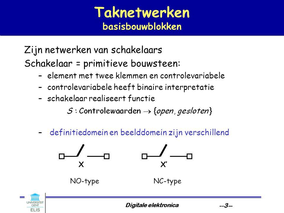 Digitale elektronica --3-- Taknetwerken basisbouwblokken Zijn netwerken van schakelaars Schakelaar = primitieve bouwsteen: –element met twee klemmen e