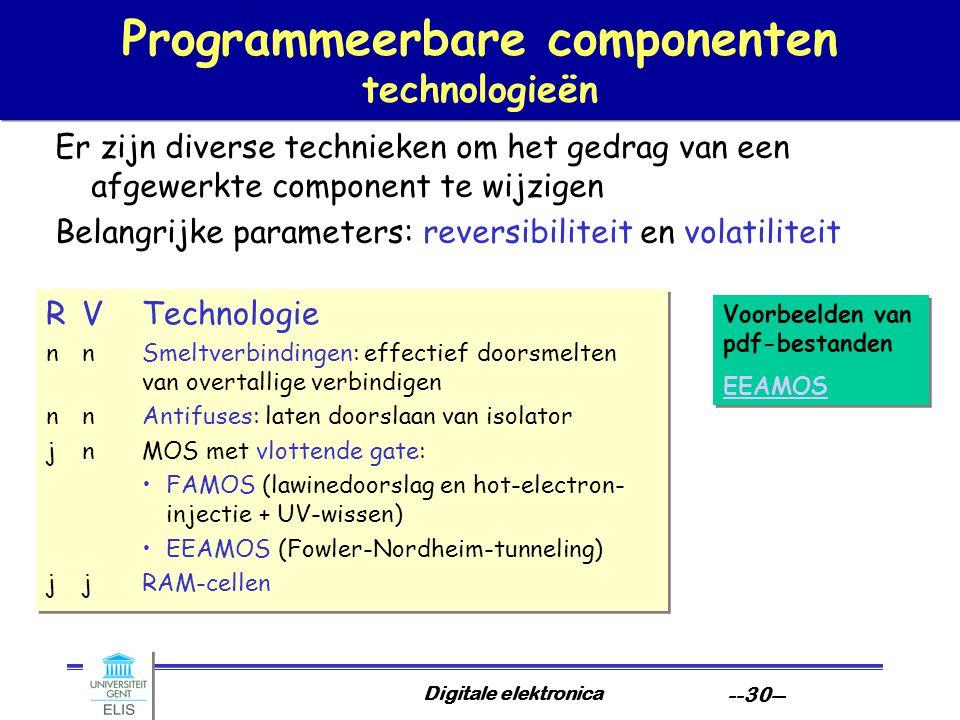 Digitale elektronica --30-- Programmeerbare componenten technologieën Er zijn diverse technieken om het gedrag van een afgewerkte component te wijzige