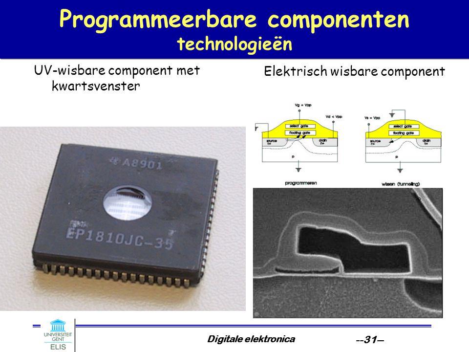 Digitale elektronica --31-- Programmeerbare componenten technologieën UV-wisbare component met kwartsvenster Elektrisch wisbare component