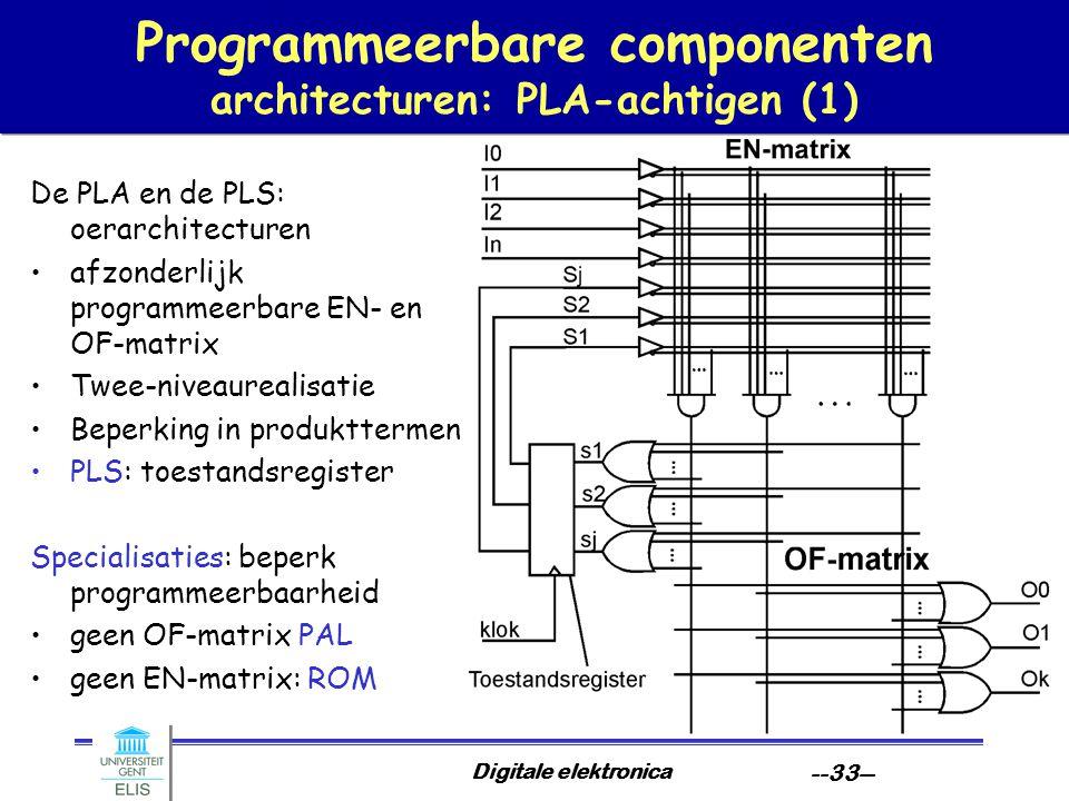 Digitale elektronica --33-- Programmeerbare componenten architecturen: PLA-achtigen (1) De PLA en de PLS: oerarchitecturen afzonderlijk programmeerbar