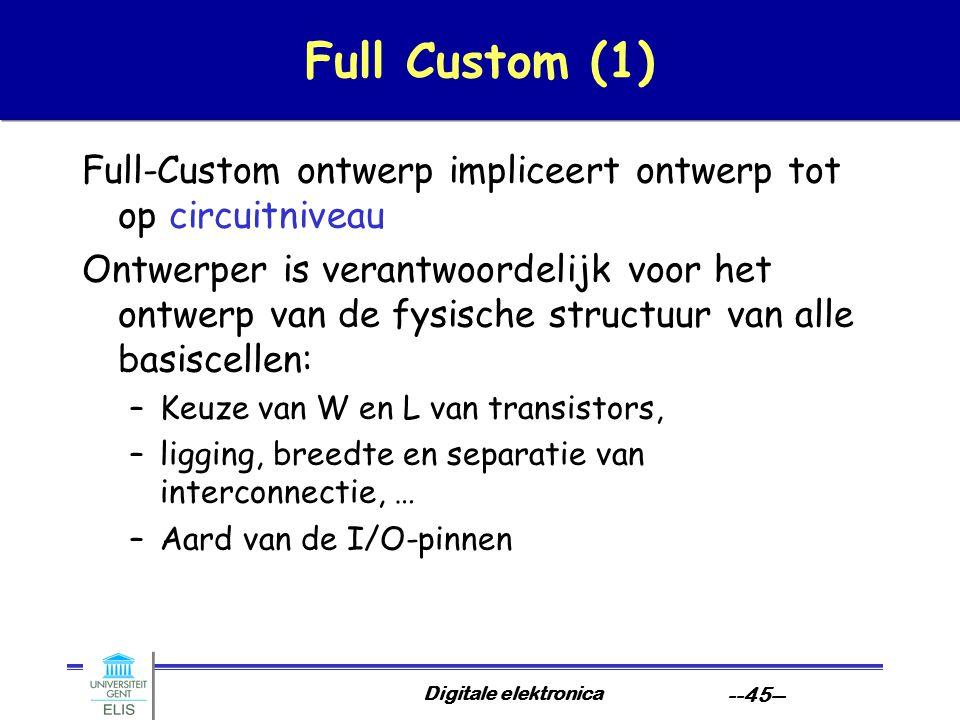 Digitale elektronica --45-- Full Custom (1) Full-Custom ontwerp impliceert ontwerp tot op circuitniveau Ontwerper is verantwoordelijk voor het ontwerp