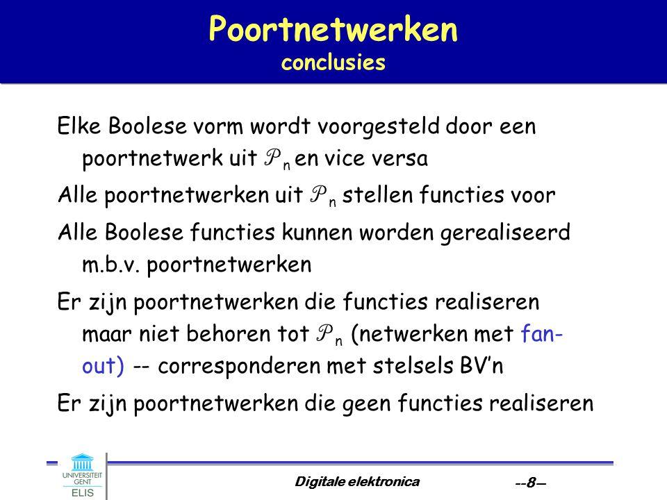 Digitale elektronica --8-- Poortnetwerken conclusies Elke Boolese vorm wordt voorgesteld door een poortnetwerk uit P n en vice versa Alle poortnetwerk