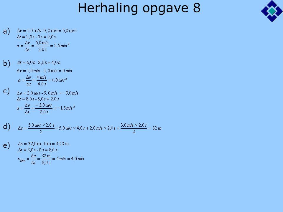 Herhaling opgave 8 a) b) c) d) e)