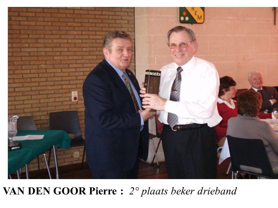 VAN DEN GOOR Pierre : 2° plaats beker drieband