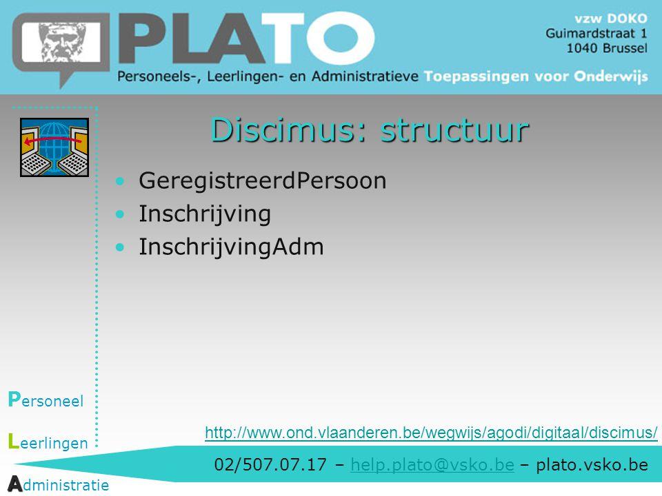 02/507.07.17 – help.plato@vsko.be – plato.vsko.behelp.plato@vsko.be P ersoneel L eerlingen A A dministratie Discimus: structuur GeregistreerdPersoon I