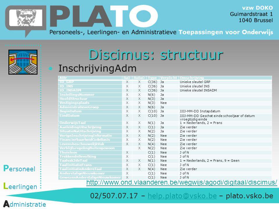 02/507.07.17 – help.plato@vsko.be – plato.vsko.behelp.plato@vsko.be P ersoneel L eerlingen A A dministratie Discimus: structuur InschrijvingAdm http:/