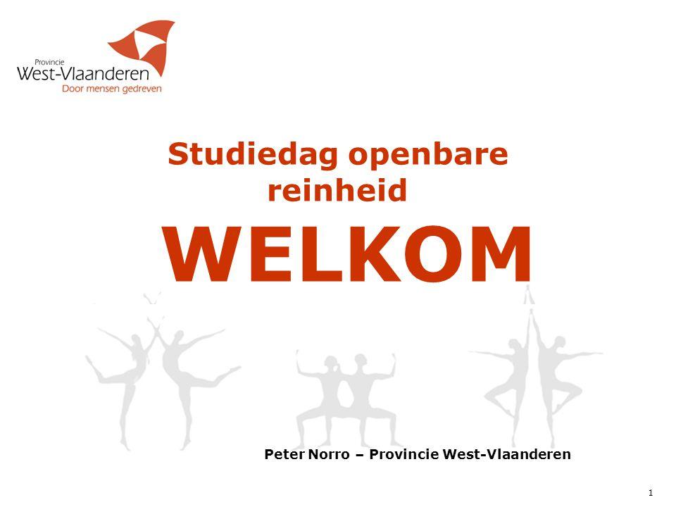 1 Peter Norro – Provincie West-Vlaanderen Studiedag openbare reinheid WELKOM