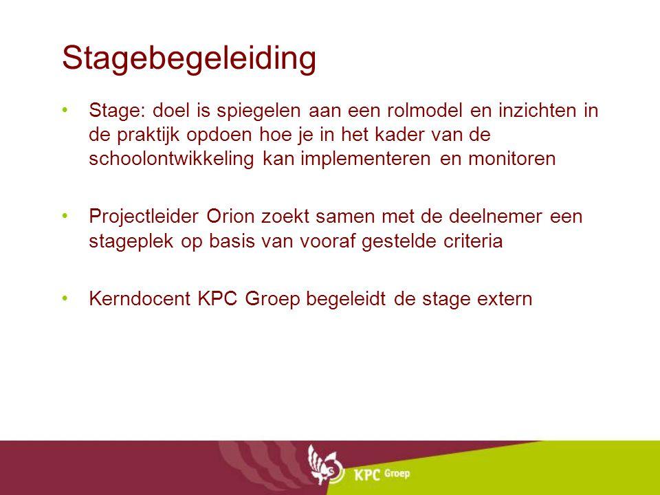 Stagebegeleiding Stage: doel is spiegelen aan een rolmodel en inzichten in de praktijk opdoen hoe je in het kader van de schoolontwikkeling kan implem