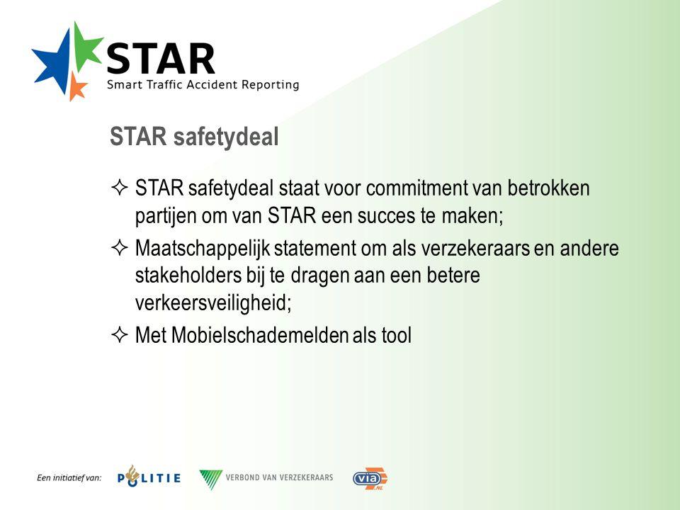 STAR safetydeal  STAR safetydeal staat voor commitment van betrokken partijen om van STAR een succes te maken;  Maatschappelijk statement om als ver