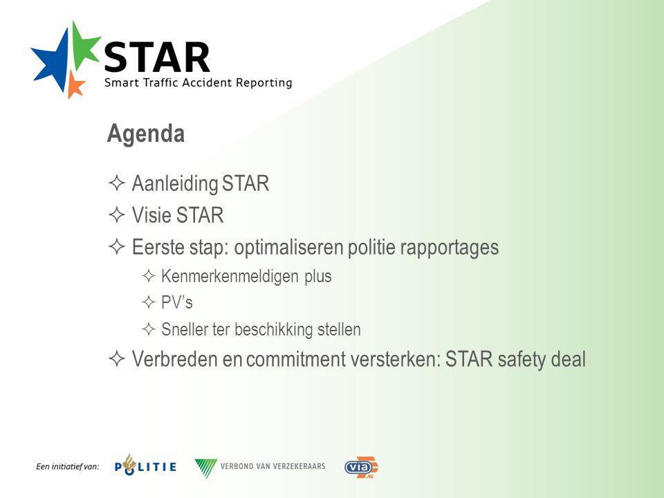 Agenda  Aanleiding STAR  Visie STAR  Eerste stap: optimaliseren politie rapportages  Kenmerkenmeldigen plus  PV's  Sneller ter beschikking stell