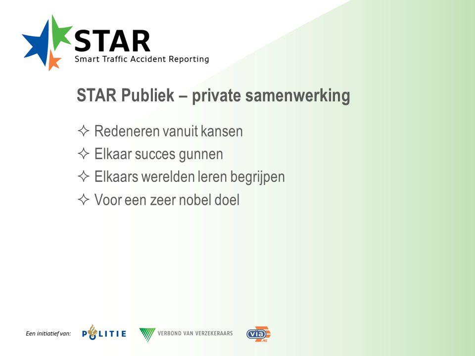 STAR Publiek – private samenwerking  Redeneren vanuit kansen  Elkaar succes gunnen  Elkaars werelden leren begrijpen  Voor een zeer nobel doel