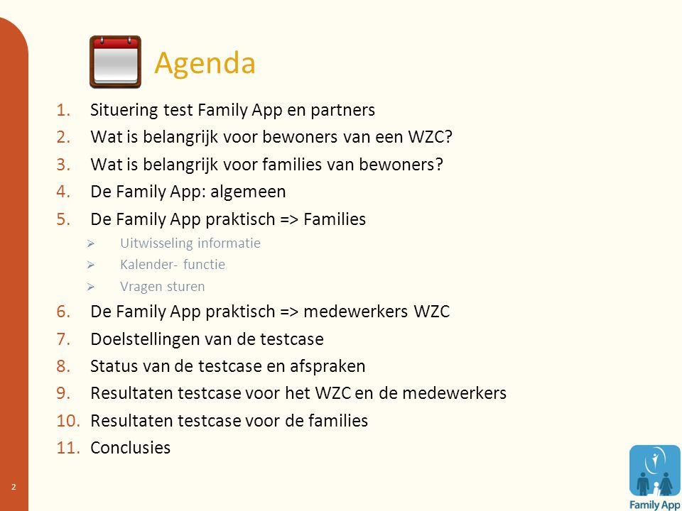 Agenda 1.Situering test Family App en partners 2.Wat is belangrijk voor bewoners van een WZC? 3.Wat is belangrijk voor families van bewoners? 4.De Fam