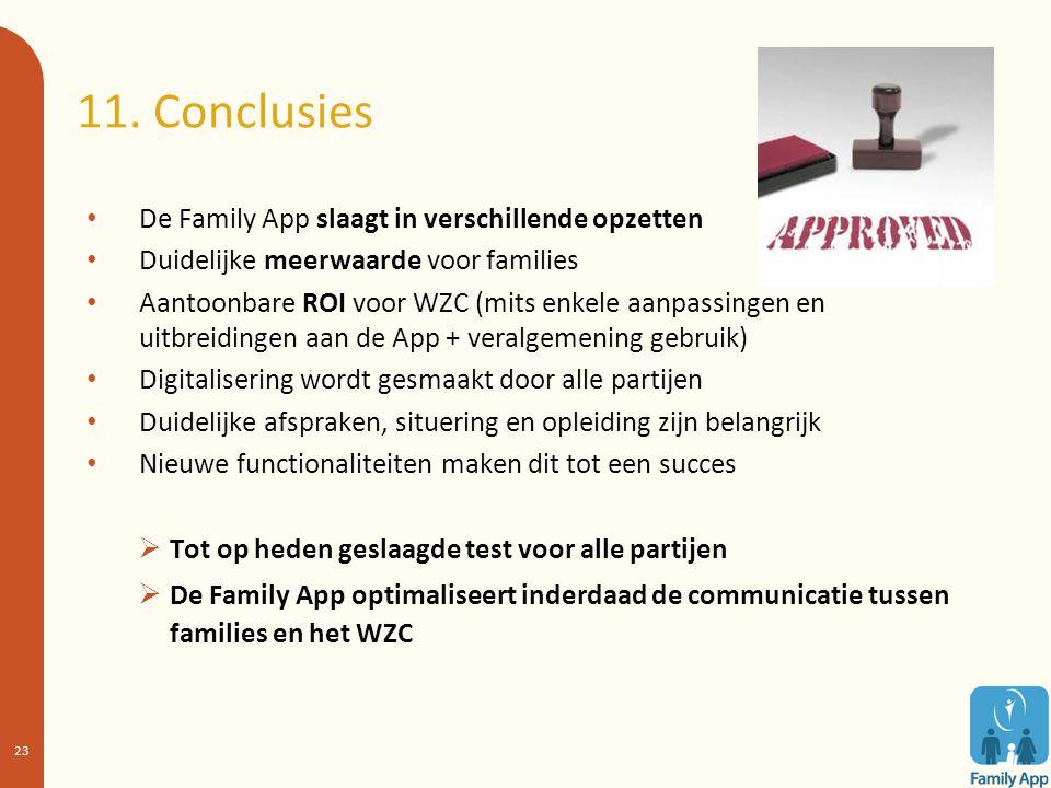 11. Conclusies De Family App slaagt in verschillende opzetten Duidelijke meerwaarde voor families Aantoonbare ROI voor WZC (mits enkele aanpassingen e