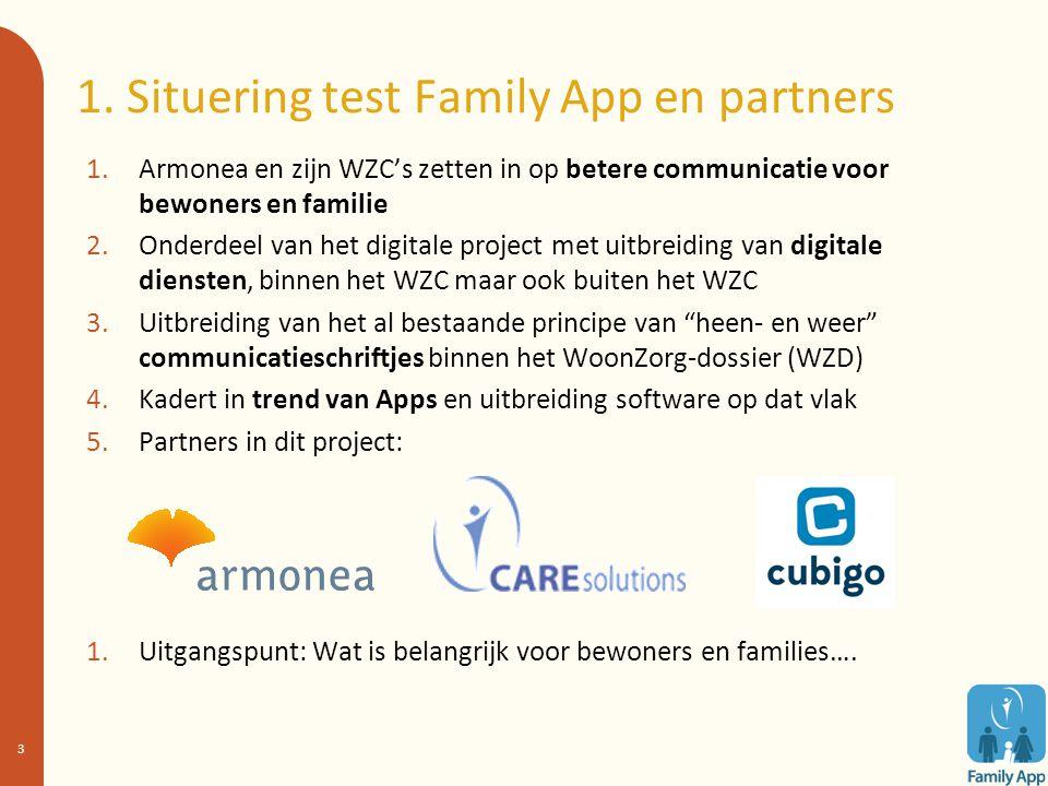 1. Situering test Family App en partners 1.Armonea en zijn WZC's zetten in op betere communicatie voor bewoners en familie 2.Onderdeel van het digital