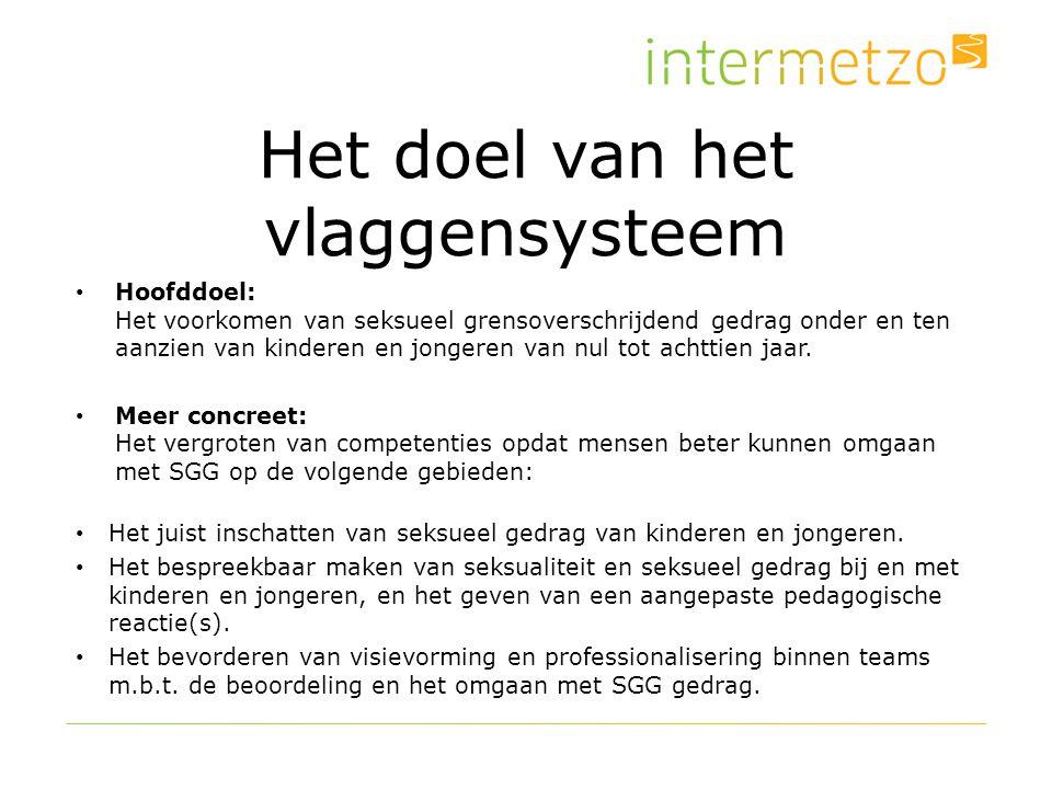 Het doel van het vlaggensysteem Hoofddoel: Het voorkomen van seksueel grensoverschrijdend gedrag onder en ten aanzien van kinderen en jongeren van nul tot achttien jaar.
