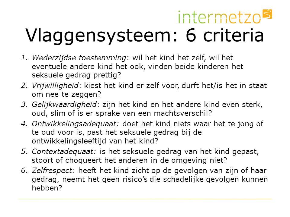 Vlaggensysteem: 6 criteria 1.Wederzijdse toestemming: wil het kind het zelf, wil het eventuele andere kind het ook, vinden beide kinderen het seksuele