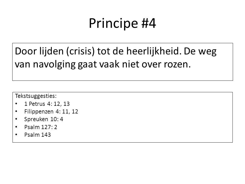 Principe #4 Door lijden (crisis) tot de heerlijkheid. De weg van navolging gaat vaak niet over rozen. Tekstsuggesties: 1 Petrus 4: 12, 13 Filippenzen