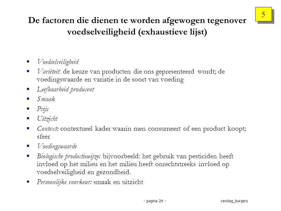 verslag_burgers- pagina 24 - De factoren die dienen te worden afgewogen tegenover voedselveiligheid (exhaustieve lijst)  Voedselveiligheid  Variëteit: de keuze van producten die ons gepresenteerd wordt; de voedingswaarde en variatie in de soort van voeding  Leefbaarheid producent  Smaak  Prijs  Uitzicht  Context: contextueel kader waarin men consumeert of een product koopt; sfeer  Voedingswaarde  Biologische productiewijze: bijvoorbeeld: het gebruik van pesticiden heeft invloed op het milieu en het milieu heeft onrechtstreeks invloed op voedselveiligheid en gezondheid.