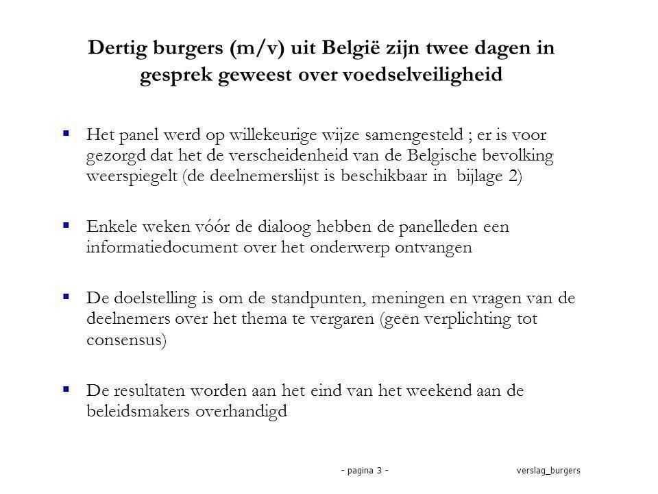 verslag_burgers- pagina 3 - Dertig burgers (m/v) uit België zijn twee dagen in gesprek geweest over voedselveiligheid  Het panel werd op willekeurige wijze samengesteld ; er is voor gezorgd dat het de verscheidenheid van de Belgische bevolking weerspiegelt (de deelnemerslijst is beschikbaar in bijlage 2)  Enkele weken vóór de dialoog hebben de panelleden een informatiedocument over het onderwerp ontvangen  De doelstelling is om de standpunten, meningen en vragen van de deelnemers over het thema te vergaren (geen verplichting tot consensus)  De resultaten worden aan het eind van het weekend aan de beleidsmakers overhandigd
