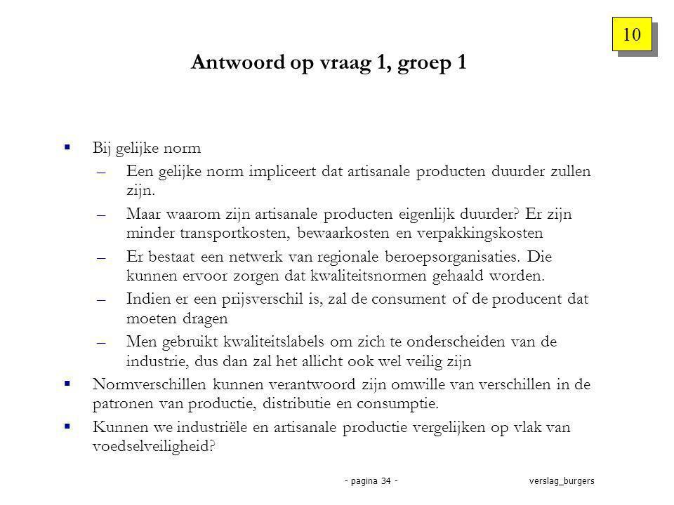 verslag_burgers- pagina 34 - Antwoord op vraag 1, groep 1  Bij gelijke norm –Een gelijke norm impliceert dat artisanale producten duurder zullen zijn.