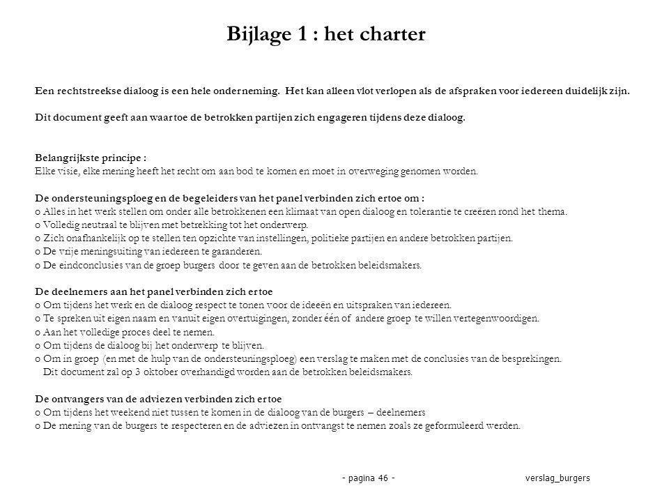 verslag_burgers- pagina 46 - Bijlage 1 : het charter Een rechtstreekse dialoog is een hele onderneming.