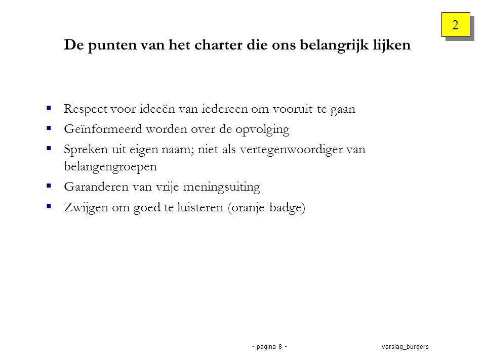 verslag_burgers- pagina 8 - De punten van het charter die ons belangrijk lijken  Respect voor ideeën van iedereen om vooruit te gaan  Geïnformeerd worden over de opvolging  Spreken uit eigen naam; niet als vertegenwoordiger van belangengroepen  Garanderen van vrije meningsuiting  Zwijgen om goed te luisteren (oranje badge) 2 2