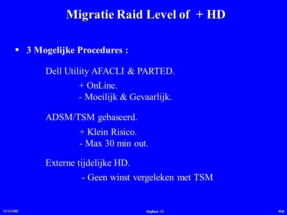 Migratie Raid Level of + HD 13/12/2002 WMMigRaid - 01  3 Mogelijke Procedures : Dell Utility AFACLI & PARTED. ADSM/TSM gebaseerd. Externe tijdelijke