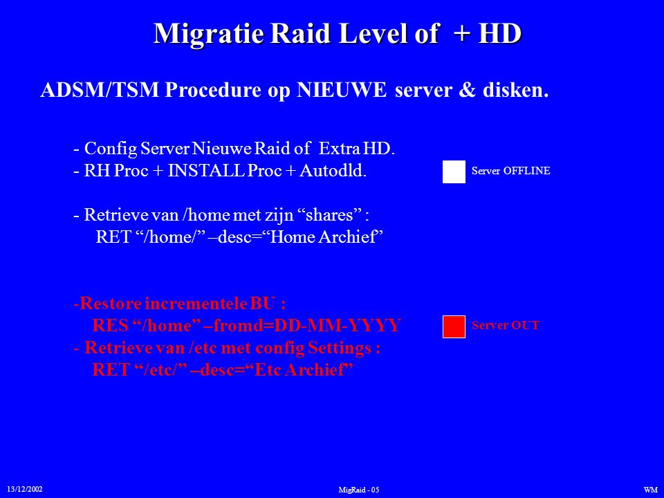 Migratie Raid Level of + HD 13/12/2002 WMMigRaid - 05 ADSM/TSM Procedure op NIEUWE server & disken.