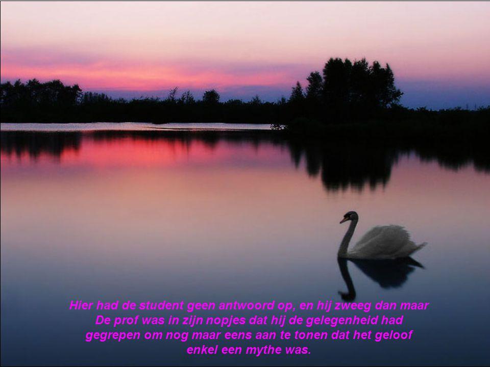'In dat geval, heeft God ook het kwaad geschapen. Correct? 'Aangezien het kwaad bestaat', zei de professor …