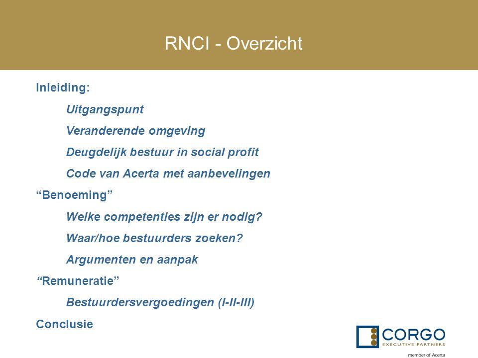 """RNCI - Overzicht Inleiding: Uitgangspunt Veranderende omgeving Deugdelijk bestuur in social profit Code van Acerta met aanbevelingen """"Benoeming"""" Welke"""