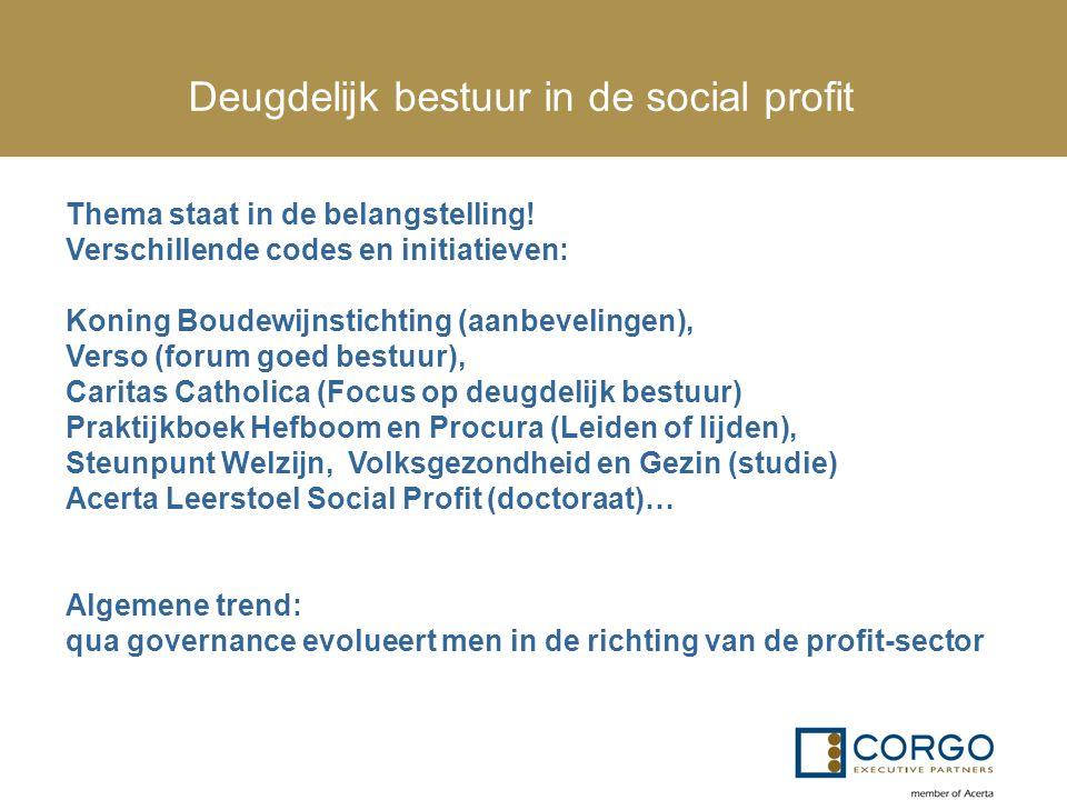 Deugdelijk bestuur in de social profit Thema staat in de belangstelling! Verschillende codes en initiatieven: Koning Boudewijnstichting (aanbevelingen