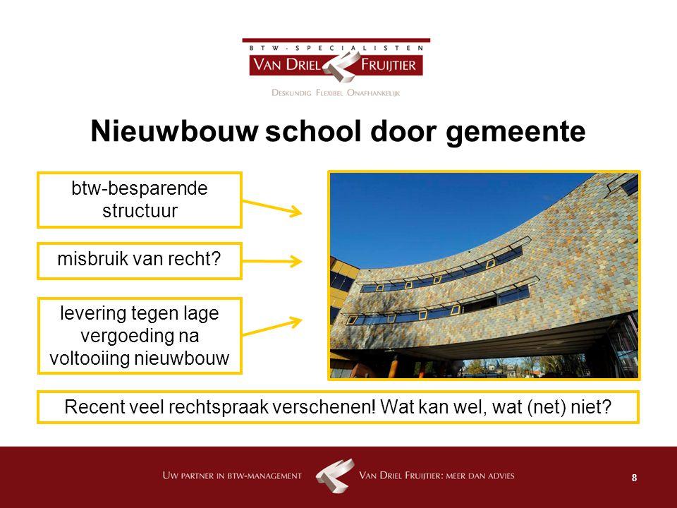 9 Verkoop kindercentrum Eerst: gebruik voor btw- vrijgestelde kinderopvang Daarna: verkoop aan btw- belast presterende ondernemer Verkoop met/zonder btw.
