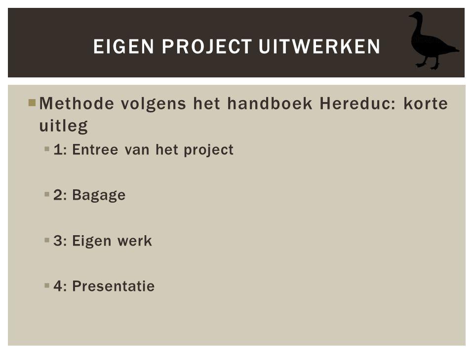  Methode volgens het handboek Hereduc: korte uitleg  1: Entree van het project  2: Bagage  3: Eigen werk  4: Presentatie EIGEN PROJECT UITWERKEN