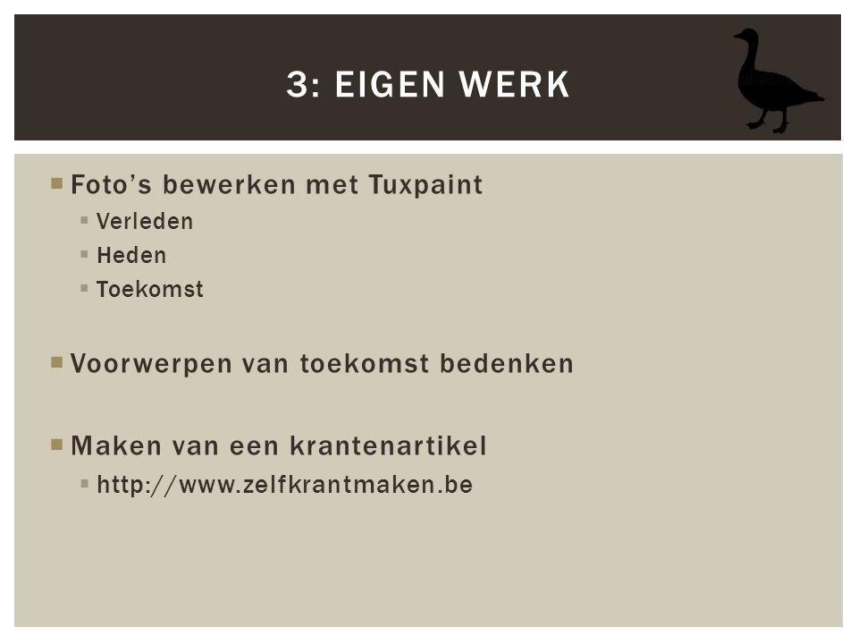  Foto's bewerken met Tuxpaint  Verleden  Heden  Toekomst  Voorwerpen van toekomst bedenken  Maken van een krantenartikel  http://www.zelfkrantm