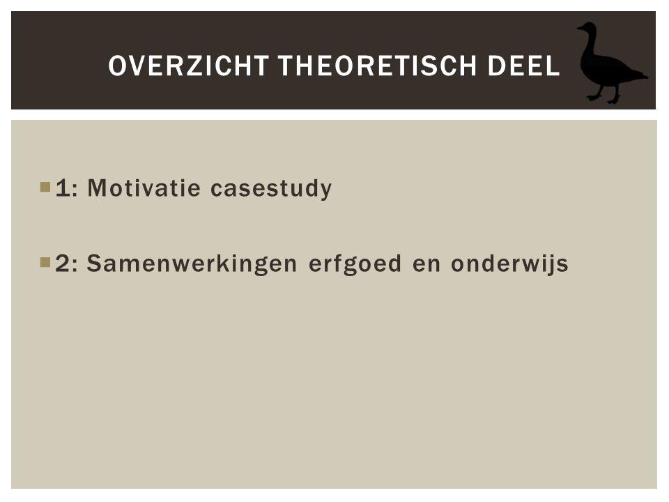  1: Motivatie casestudy  2: Samenwerkingen erfgoed en onderwijs OVERZICHT THEORETISCH DEEL