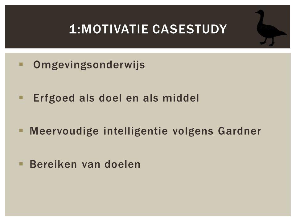 Omgevingsonderwijs  Erfgoed als doel en als middel  Meervoudige intelligentie volgens Gardner  Bereiken van doelen 1:MOTIVATIE CASESTUDY